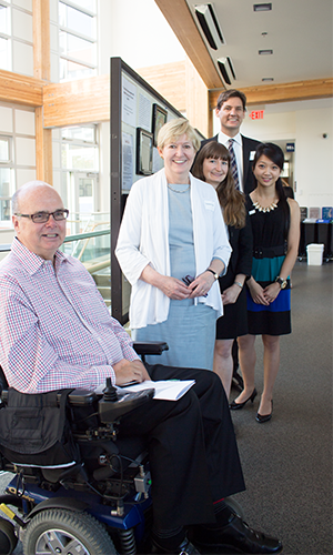 BC Attorney General Suzanne Anton, MLA for Vancouver-Fraserview, and David Eby, MLA for Vancouver-Point Grey, meet with UBC students Marie Maratos and Linh Huyng, as well as Greg McKinstry (front), Vice President of the Stroke Recovery Association of BC, at the 10th annual Capstone Conference.